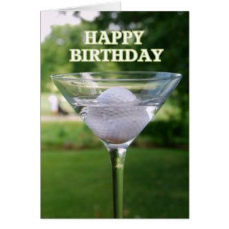 Martini Golf Ball Happy Birthday Card
