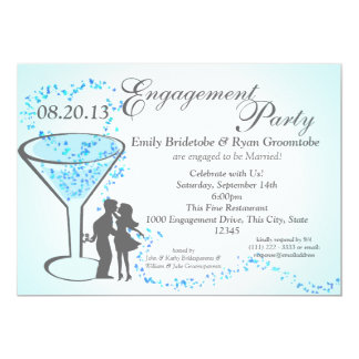 Martini Hearts Engagement Card