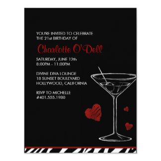 martini | love/ heart; birthday party card