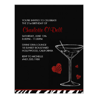 martini love heart birthday party announcement