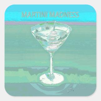martini madness blue square stickers