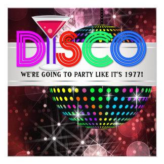 Martini Mirror Ball Disco Party Announcement