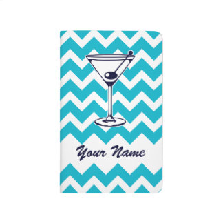 Martini Pictogram with Blue Chevron Pattern Journal