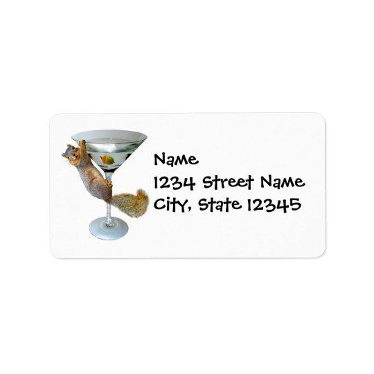 Martini Squirrel Address Label