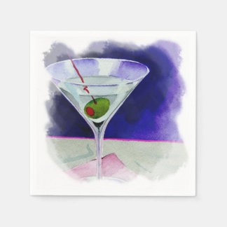 Martini with an Olive Disposable Serviettes