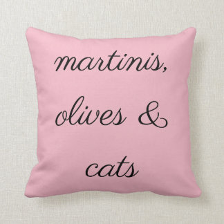 Martinis, Olives & Cats Throw Pillow