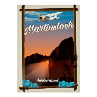 Martinsloch Switzerland travel poster