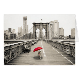 Marty Mouse on the Brooklyn Bridge Greeting Card