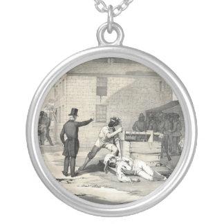 Martyrdom of Joseph & Hiram Smith in Carthage Jail Round Pendant Necklace
