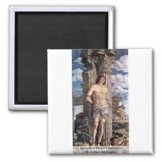 Martyrdom Of Saint Sebastian By Andrea Mantegna Square Magnet