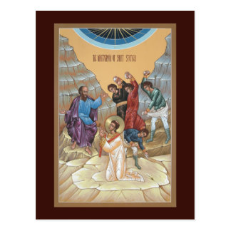 Martyrdom of St Stephen Prayer Card Postcard