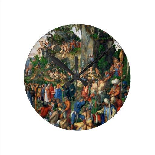 Martyrdom of the Ten Thousand by Albrecht Dürer Round Clocks