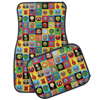 Marvel Emoji Characters Grid Pattern Car Mat