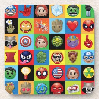 Marvel Emoji Characters Grid Pattern Coaster