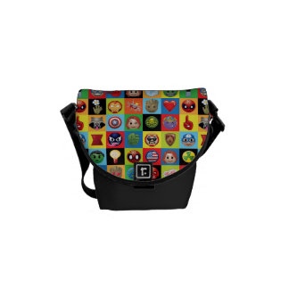 Marvel Emoji Characters Grid Pattern Courier Bag