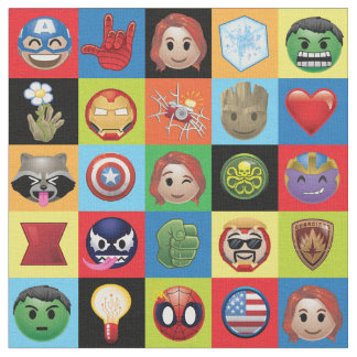 Marvel Emoji Characters Grid Pattern Fabric