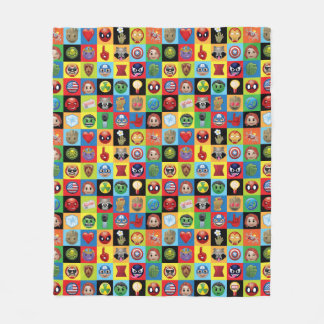 Marvel Emoji Characters Grid Pattern Fleece Blanket
