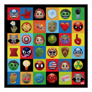 Marvel Emoji Characters Grid Pattern Poster