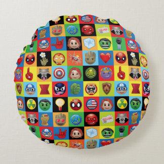 Marvel Emoji Characters Grid Pattern Round Cushion
