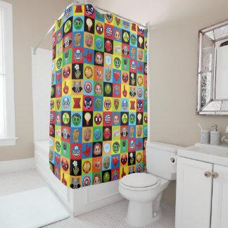 Marvel Emoji Characters Grid Pattern Shower Curtain