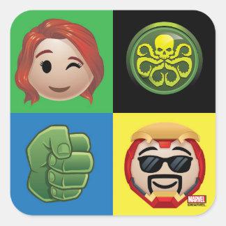 Marvel Emoji Characters Grid Pattern Square Sticker