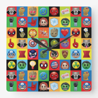 Marvel Emoji Characters Grid Pattern Square Wall Clock