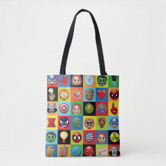 Marvel Emoji Characters Grid Pattern Tote Bag