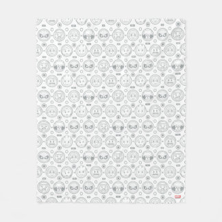 Marvel Emoji Characters Outline Pattern Fleece Blanket