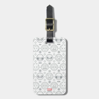 Marvel Emoji Characters Outline Pattern Luggage Tag
