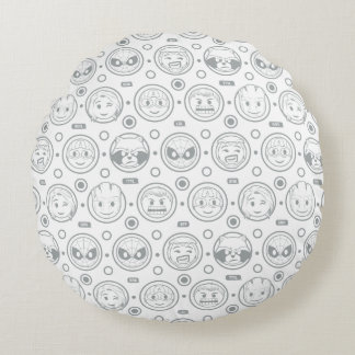Marvel Emoji Characters Outline Pattern Round Cushion