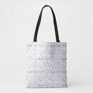 Marvel Emoji Characters Outline Pattern Tote Bag