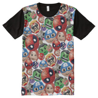 Marvel Emoji Characters Toss Pattern All-Over Print T-Shirt