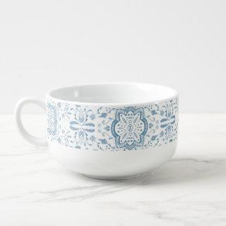 Marvellous Blue Watercolour Pattern Soup Mug