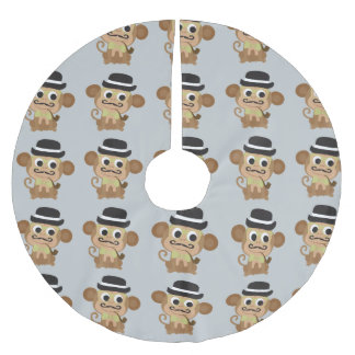 Marvelous Mustached Monkey Brushed Polyester Tree Skirt