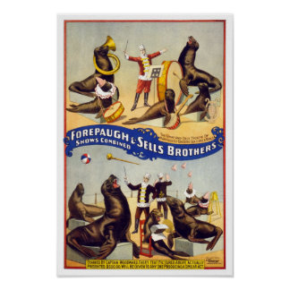 Marvelously Trained Circus Seals, 1899. Vintage Poster