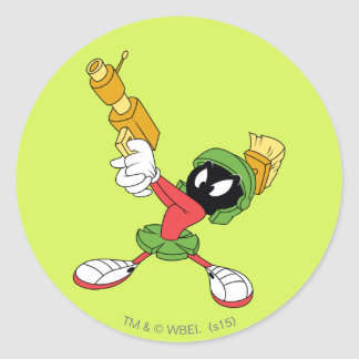 MARVIN THE MARTIAN™ Aiming Laser Classic Round Sticker