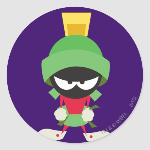 Marvin the Martian Ready to Attack Round Sticker