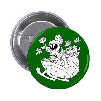 MARVIN THE MARTIAN™ with toys on space sled 6 Cm Round Badge