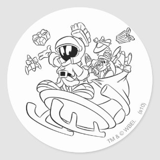 MARVIN THE MARTIAN™ with toys on space sled Round Sticker