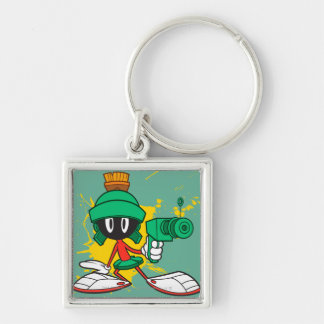 Marvin With Gun Silver-Colored Square Key Ring