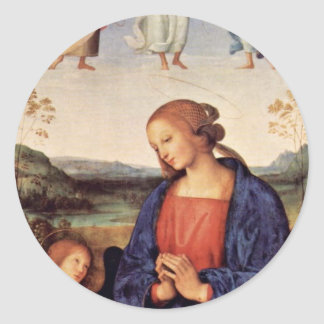 Mary Adoring The Child With The Archangel Gabriel Classic Round Sticker