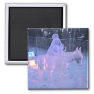 Mary And Baby Jesus Night Snow Winter Sculpture Square Magnet