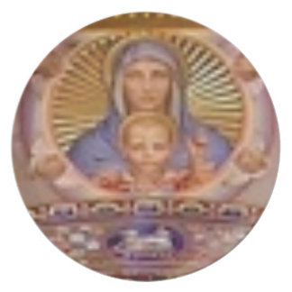 mary and child art plate