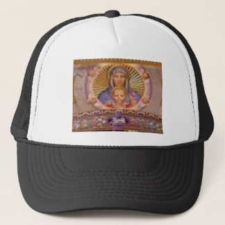 mary and child art trucker hat