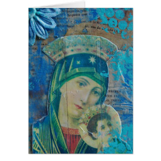Mary and Child Mixed Media Collage Card