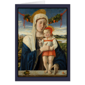 Mary and Christ Child Under Garland Card