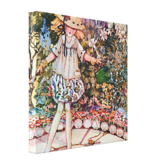 Mary and Her Garden Nursery Rhyme Stretched Canvas Prints