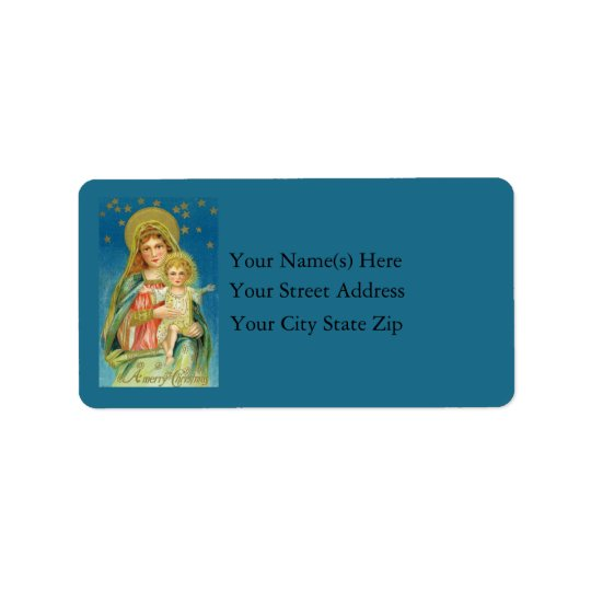 Mary and Jesus Vintage Address Label