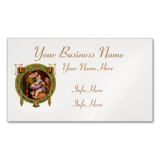 Mary And Jesus With Holly Magnetic Business Cards