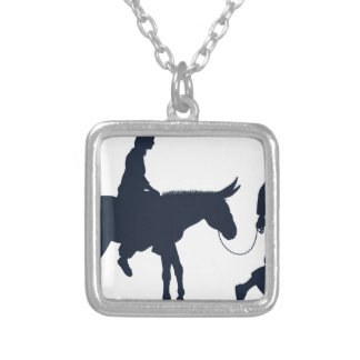Mary and Joseph Christian Illustration Silhouettes Silver Plated Necklace